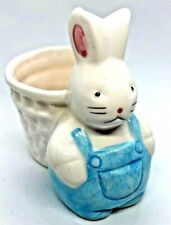 Small Ceramic Plant Holder ~ White Easter Bunny w/ Blue Overalls ~ Nice Gift!