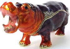 Nilpferd Happy Hippo Flusspferd Geschenk Deko Figur Schmuckschatulle Pillendose