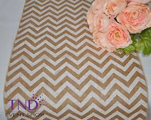 "14""x108"" CHEVRON BURLAP TABLE RUNNER FOR RUSTIC WEDDING"