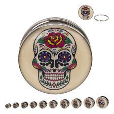 """PAIR-Sugar Skull Steel Screw On Plugs 11mm/7/16"""" Gauge Body Jewelry"""