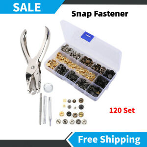 120 Set Poppers Snap Fasteners Press Stud Button Leather Craft Tools Accessories