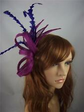 Purple Comb Hat Fascinator with Feathers - Special Occasion Wedding Races