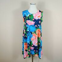 Nally & Millie Womens Tunic Tank Top Floral Print Sharkbite Hem Sleeveless M / L