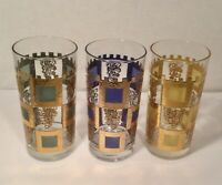 3 Vintage Culver Highball Drinking Glasses Gold Green Blue Squares with 22K Gold
