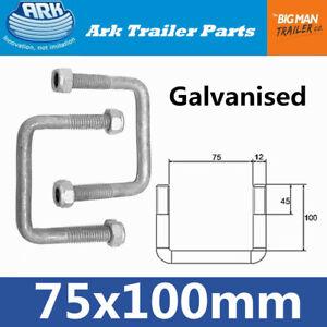2x ARK Trailer U Bolts Galvanised 75mm width 100mm arm long Square U-bolt SB