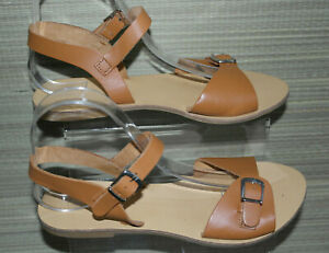 TOPSHOP WOMEN Brown Leather Ankle Strap Flat Sandals Size; 6/39 (WHS397)
