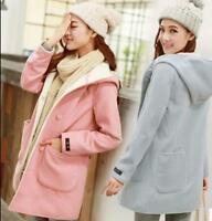 New Korean Women's Fleece Warm Jacket Hooded Trench Wool Blend Outwear Long Coat
