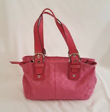 Coach Soho Pink Canvas Signature C Tote Shopper Purse Handbag Large F13117