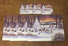 Set of 4 Christmas Scene Tree Snowmen White Laminated Cork Placemats 29x22x0.5cm