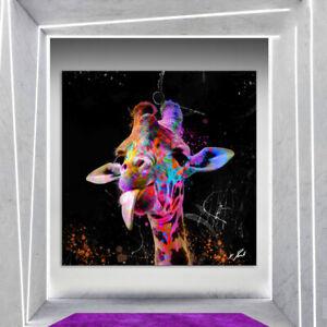 Tiere Giraffen Bunt Farbe Bild Leinwand Abstrakte Kunst Bilder Wandbilder D2298