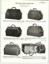 1925 PAPER AD 2 Sided Black Walrus Leather Gladstone Bag Suit Case Travel