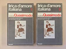 Lirica d'amore italiana 2 volumi a cura di Quasimodo Garzanti 1974
