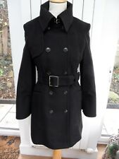 KAREN MILLEN CASHMERE WOOL TRENCH COAT WITH CAPE SLEEVES SIZE 10