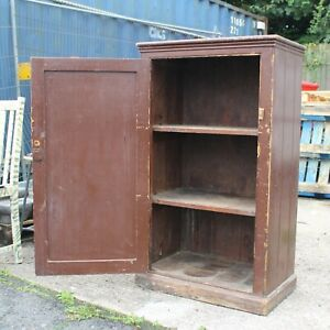 Pine kitchen farmhouse cupboard two shelves antique vintage original brown paint