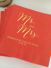 100 Personalized Napkins Mr & Mrs Wedding 3 Ply Napkins Cocktail Beverage