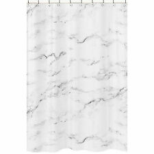 Sweet Jojo Designs Black And White Marble Bathroom Fabric Bath Shower Curtain