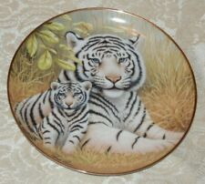 Franklin Mint Watchful Eyes White Tiger Mom & Cub Plate Howard Robinson