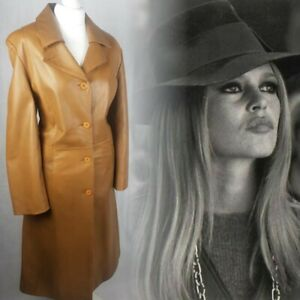 Real Leather Coat Size 10-12 Tan Brown Trench 70s Boho Bohemian Vintage