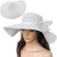 Women Wide Large Brim Folding Summer Sun Floppy Derby Hat Straw Beach Cap White