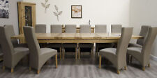 Montero Grand Extra Large 240cm Extending Dining Table and 12 Leather Chairs