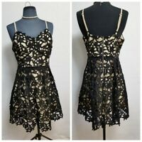She and Sky Dress Black Lace Formal Party Cocktail Evening Size M