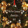 Personalised My First Christmas Snowflake Star Tree Decoration Babys 1st Xmas