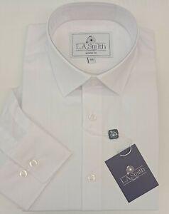 Men's Plain Shirt Business reg collar Lloyd Attree Smith Formal Shirt White