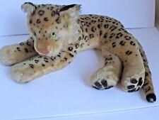 """Vintage Steiff Reclining Leopard 1950s w Ear Button 20"""" Long Green Eyes"""