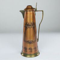 Carl Deffner Esslingen Jugendstil Kupfer Messing Kanne um 1912 Art Nouveau