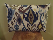 Decorative Pillow Cover Beautiful Velvety Ikat Fabric Cream Blue Olive Green