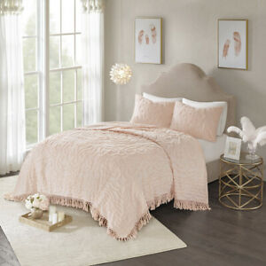 BEAUTIFUL ULTRA SOFT PLUSH PINK  MODERN CHENILLE FRINGE VINTAGE CHIC QUILT SET