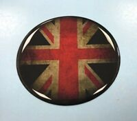 DISTRESSED UNION JACK FLAG Sticker/Decal - 50mm Diameter - GLOSS DOMED GEL