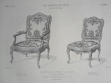 Fauteuil Chaise style LOUIS XIV GRAVURE le GARDE-MEUBLE DESTOUCHES XIXéme
