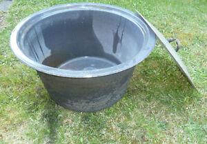 alter Emaile Waschkessel, großer Wurstkessel, m.Ablaufrohr, ideales Pflanzgefäß