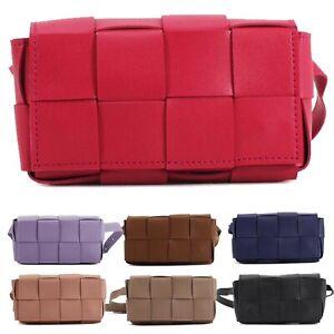 Women's Ladies Faux Leather Woven Effect Waist Bum Belt Strap Bag