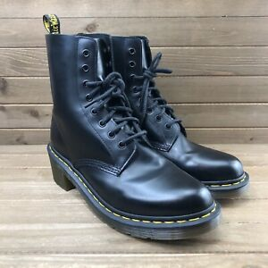 Dr. Martens Clemency Black Leather Heeled 8-Eye Heel Combat Boots Women Sz 11