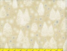 White Christmas Trees w/ Silver Snowflakes Quilting Fabric by Yard #3119