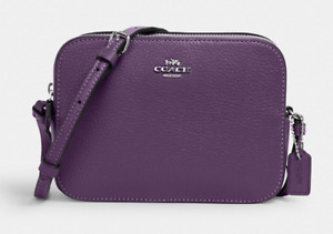 NWT Coach Mini Camera Crossbody Bag Pebble Leather Silver/Dark Amethyst Purple