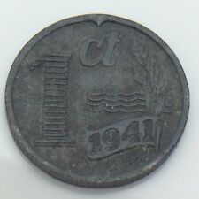 1941 Nederland Netherlands 1 One Cent Penny Dutch Circulated Coin E820