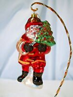 TJ's Christmas Santa Fireman carrying hose and tree glass silvered ornament
