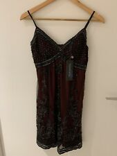 Sue Wong Bordeaux Black Lace Beaded Sequin Embellished Gatsby Flapper 1920 Dress