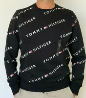 100% AUTHENTIC MENS DESIGNER TOMMY HILFIGER LOGO FLEECE SWEATER / JUMPER BLACK