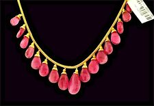Natural Rubellite pink tourmaline Pear shaped cabochon Necklace 18k Yellow Gold