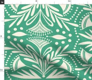 Vintage Cream Green Flowers Leaves Nature Spoonflower Fabric by the Yard