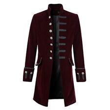 Men's Steampunk Military TRENCH COAT Long Jacket Gothic Stand Collar Outwear DS