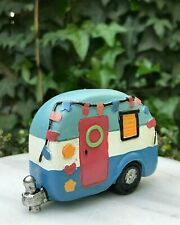 Miniature Dollhouse FAIRY GARDEN ~ MINI CAMPING Colorful BEACH Camper Trailer