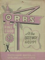 Vintage ORRS FINE FOOD 21 Restaurant Menu Marissa ILLINOIS