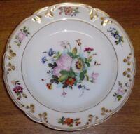 """Antique Hand Painted Floral Old Paris Porcelain Rimmed Soup Bowl - 9 3/8"""""""
