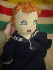 Vintage Antique Handmade Large Sailor Sirley Temple Cloth Rag Doll primitive