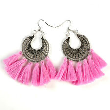 Charm Beads Long Tassel Dangle Earrings for Women Thread Fringe Drop Earrings